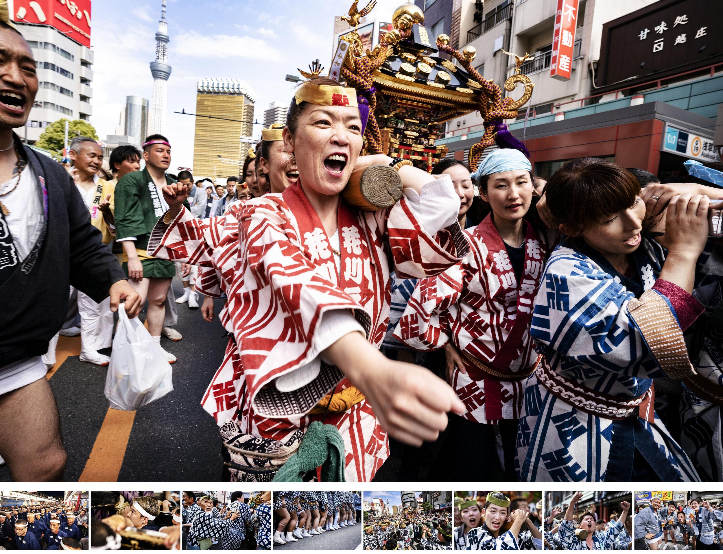"Sanja Matsuri - フォト・ドキュメンタリー制作物:スチール""Sanja Matsuri=三社祭り""は浅草で毎年行われるお祭りを記録したシリーズ写真。浅草寺境内に隣接する浅草神社の祭神として祀られる三人の漁師に因んだ祭りとされる三社祭は、神霊を鎮めた約100基もの神輿が通りを練り歩き、地元の商売や住人に幸運を分け与えるとして知られている。"
