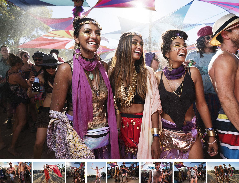 """Rainbow Serpent festival - フォト・ドキュメンタリー制作物:スチール / 映像オーストラリアのヴィクトリア州で毎年開催されるエレクトリックミュージックの祭典を記録した""""Rainbow Serpent festival=レインボー・サーペント・フェスティバル""""。土と埃と圧倒されるほどの熱狂の中で、集まった人々に押しつぶされそうになりながらアシスタントの助けを借りてライトのセッティングをした。苦労はあったが、きちんとライティングが演出できたおかげで、解放的なフェスティバルにおける瞬間の輝きをうまく捉えることができたと思う。"""