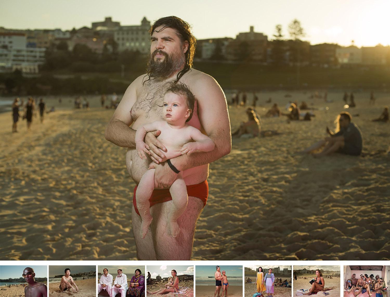 """Laid bare - 写真展展示作品オーストラリアの現在を描き出すポートレートシリーズ、""""Laid bare=明示""""。このシリーズを撮影するにあたっては、メディアやその他商業的に発信された情報によって作られた典型的なオーストラリアのビーチの風景から離れることを強く意識した。マックス・デュパインの1937年の作品""""The Sunbaker""""に象徴されるような、ブロンズ色に日焼けした筋骨たくましいアングロ・サクソン系の人物像ではなく、今の時代に生き、私たちと同じリアルな人間である人々の美しさを捉えたいと思ったからだ。"""