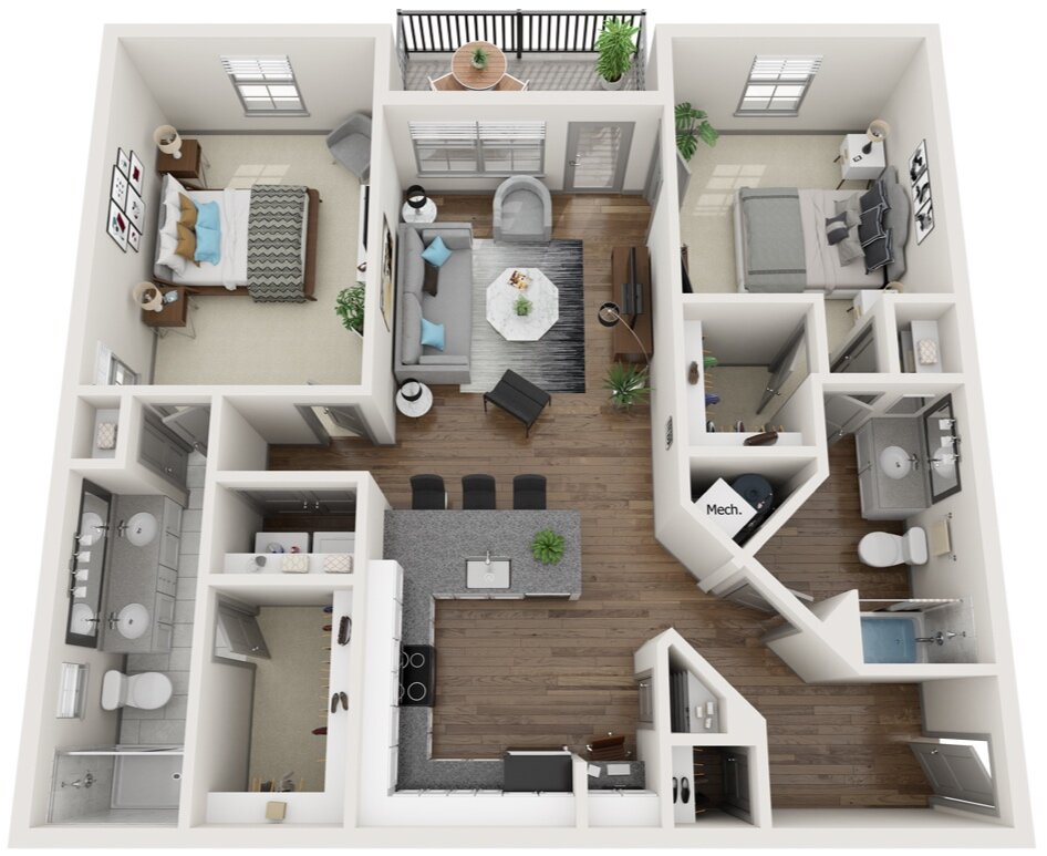 Large Two Bedroom Apartments Old Cloverdale Midtown Row