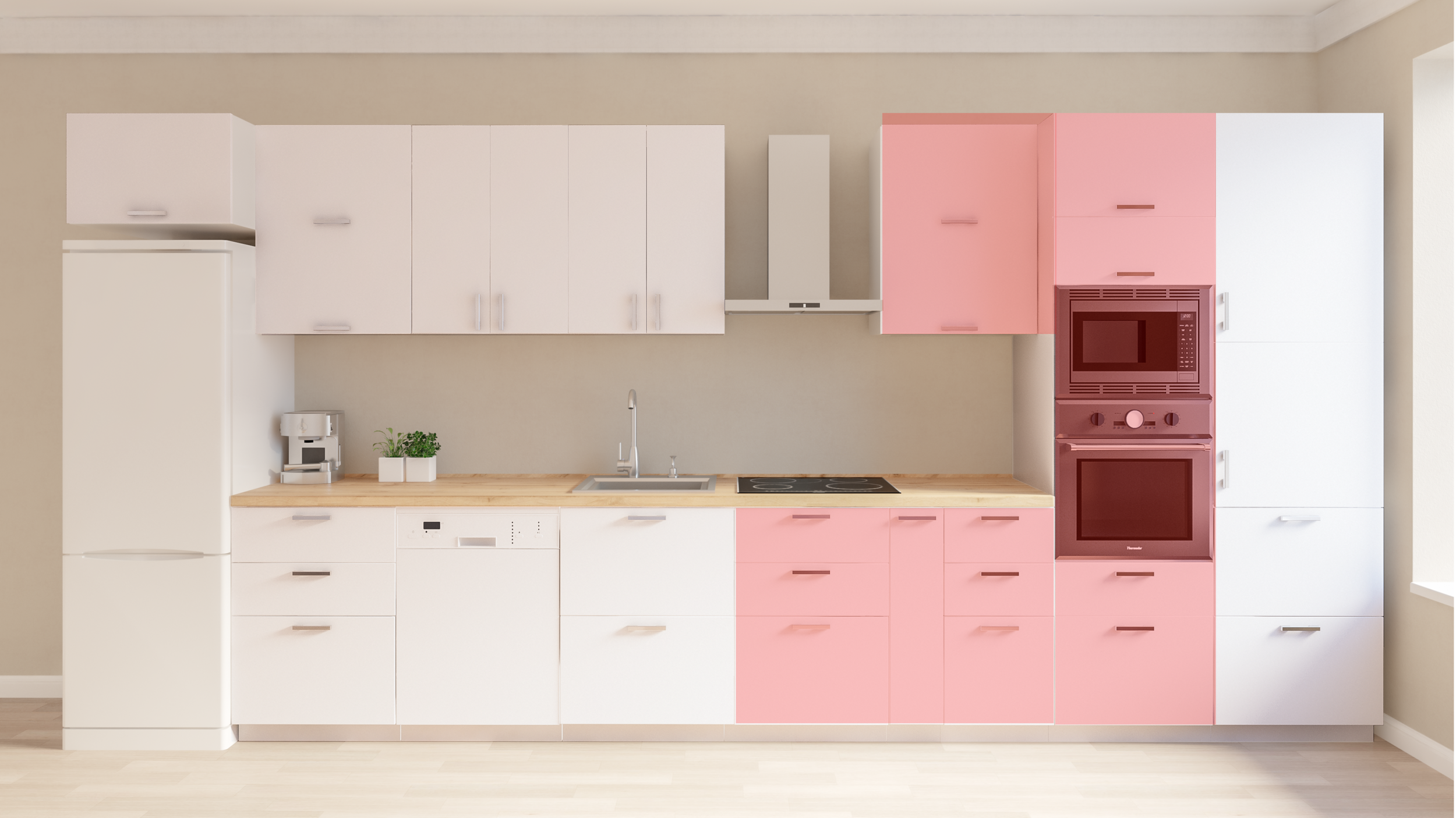 COOKING - This zone traditionally is marked red and also includes storage spaces for pans, saucepans, pots, casseroles, baking plates and utensils.