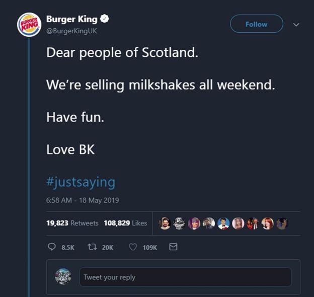 Photograph: Burger King 'Milkshake' Tweet