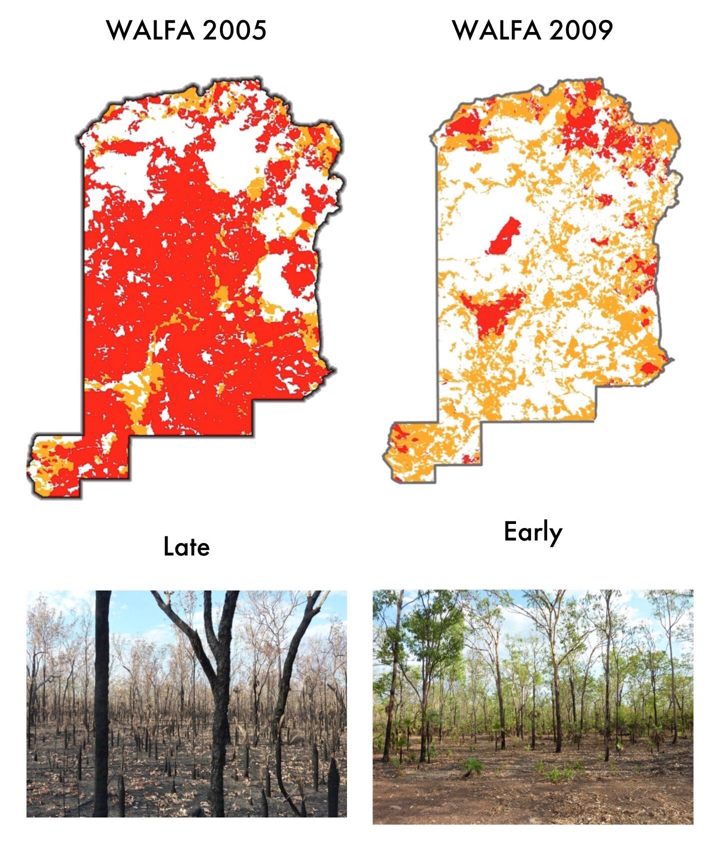 WALFA Project area before reintroduction of Indigenous Fire Management in 2005 (top left), and after in 2009 (top right), with orange areas burnt early and red late.