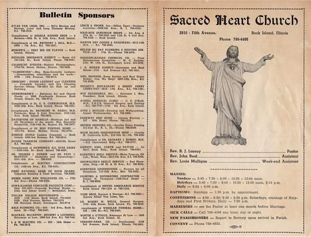 Church bulletin, 1960's