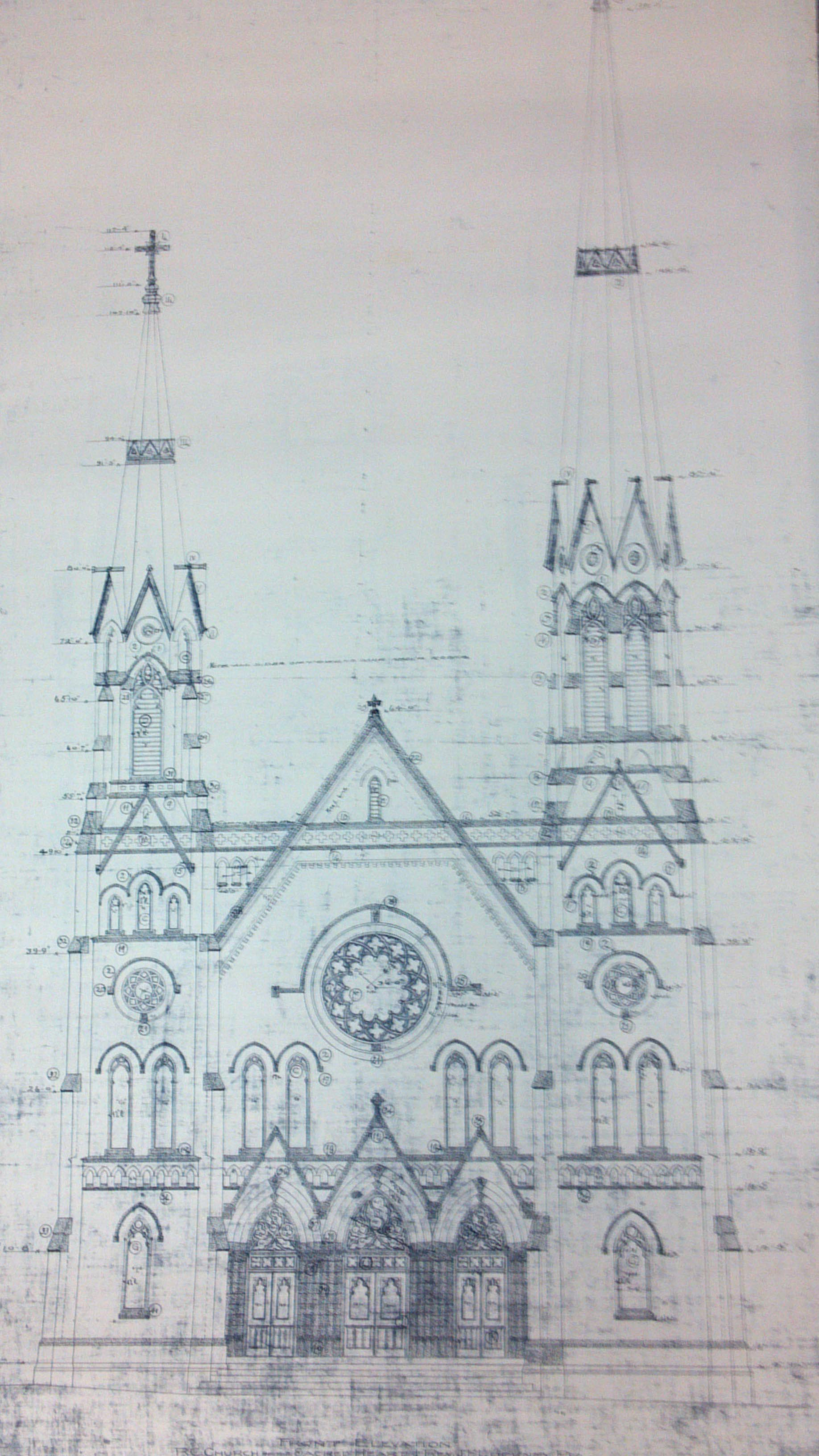 Original blueprints for Sacred Heart by architect George P. Stauduhar