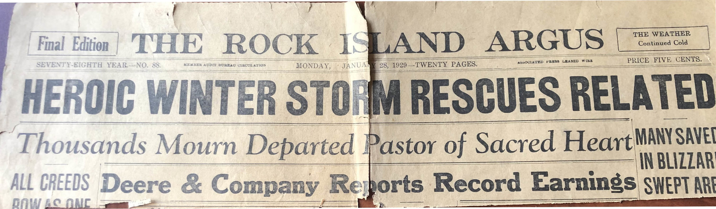 When Sacred Heart pastors died, it was front page news in 1929!