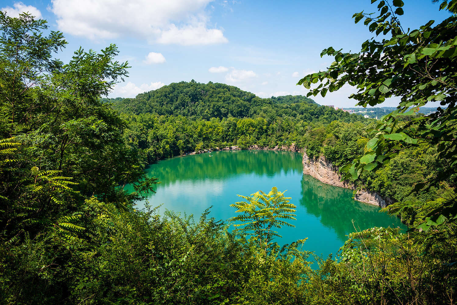 Summer Dip - Fort Dickerson Quarry; Knoxville, TennesseeIt was a super hot day and these turquoise waters were calling my name! The main entrance to the park was closed this day which is where people normally enter to go for a dip! I'm not sure how some people got down there but I sure wished I was one of them! Such an awesome site!Open Edition
