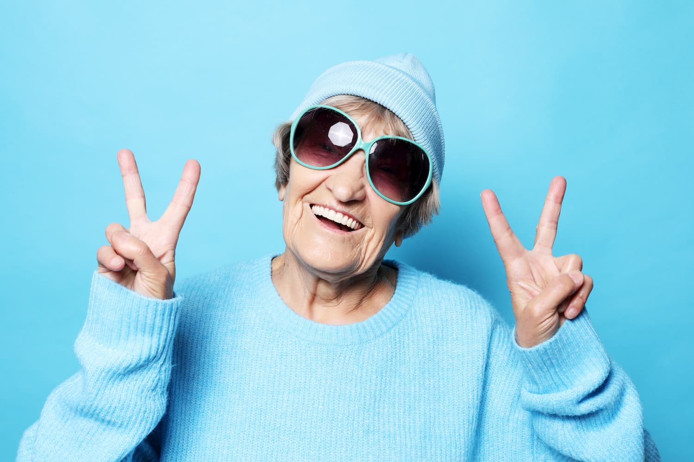 Happy older lady