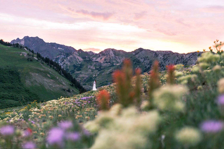 bride-mountains-wildflowers-sunset