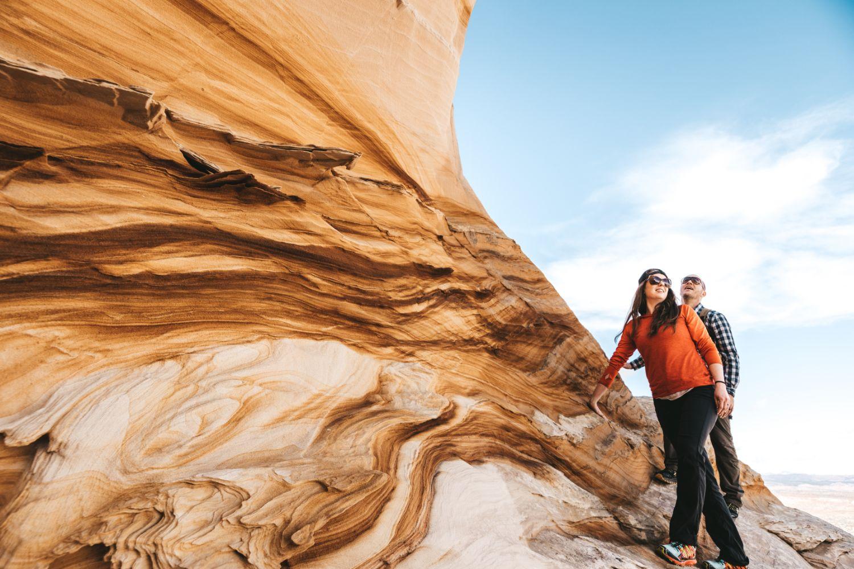 couple-explores-area-southern-Utah-elopement