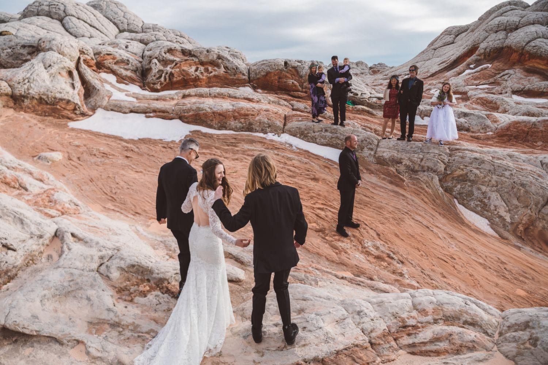 bride-groom-procession-utah-desert