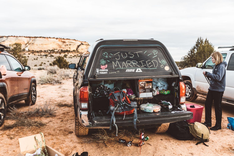 just-married-4x4-truck-utah-desert