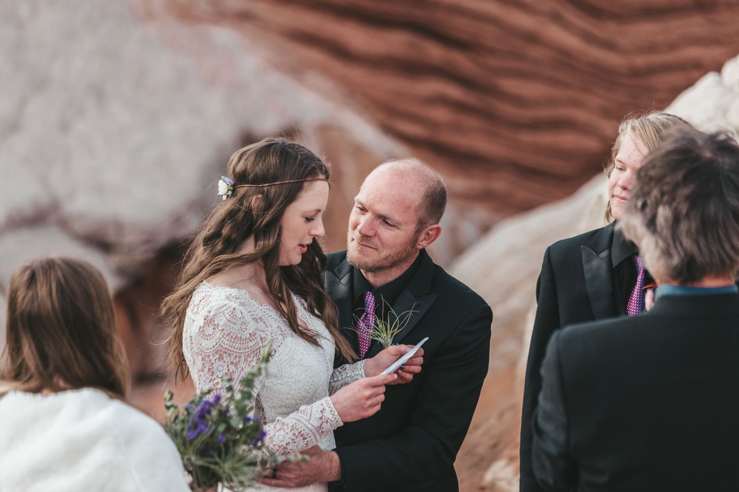 bride-reads-vows-utah-elopement