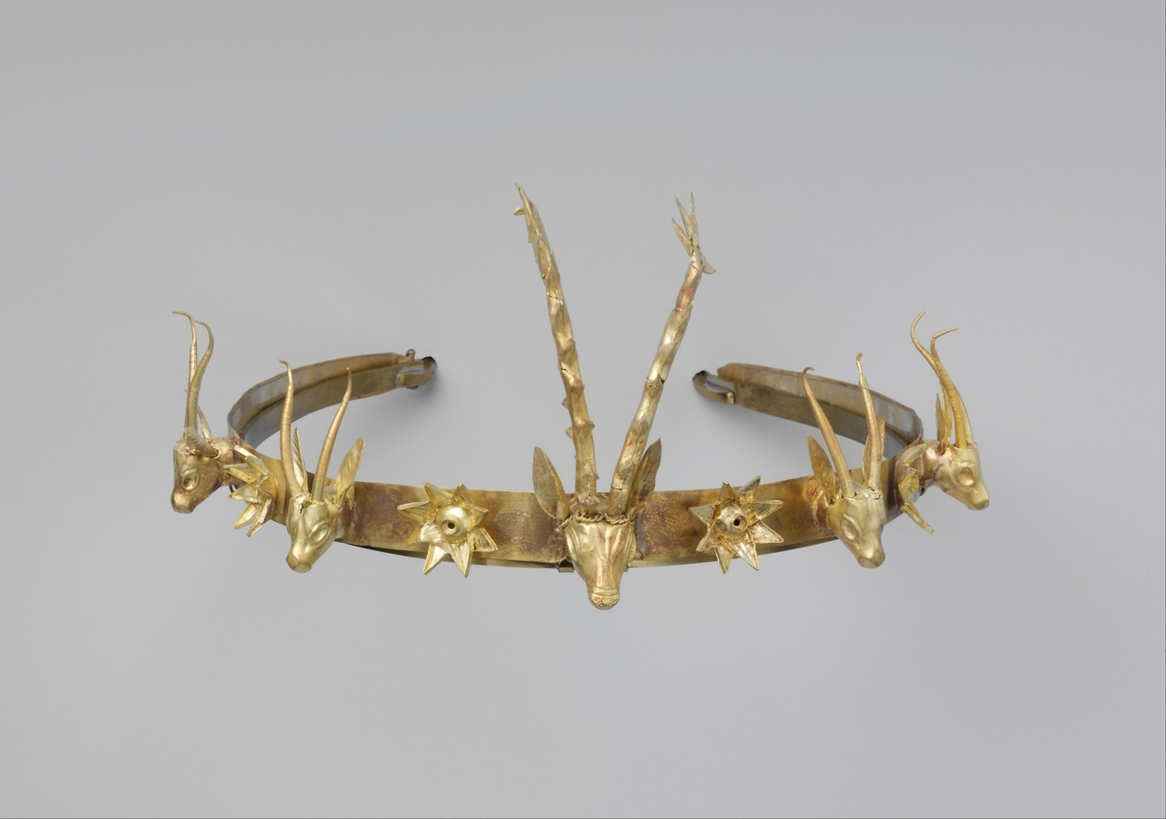Golden Headband with a frieze consisting of flowers, Gazelles and a Stag Head. Egypt, 15th (Hyksos) Dynasty. 1648 to 1540 B.C. [3857x2710].jpg