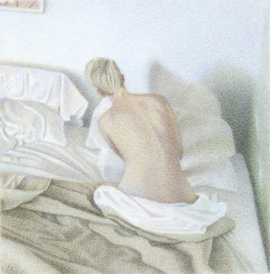 """One Day at Rest, Untitled 4 (7:19am) 2012 3x3"""" coloured pencil on board"""