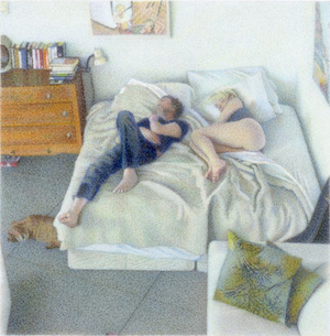 """One Day at Rest, Untitled 14 (3:05pm) 2014 3x3"""" coloured pencil on board"""