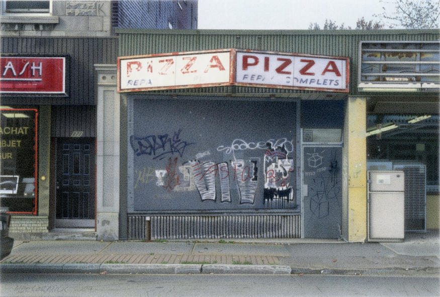 "Pizza 2009 5.5x8"" acrylic on board"