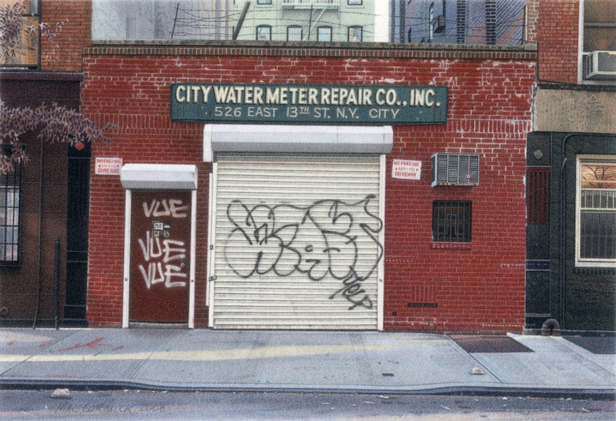 "City Water Meter Repair Co., Inc. 2008 5.5x8"" acrylic on paper"