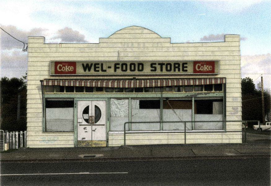 "Wel-Food Store 2007 5.5x8"" acrylic on paper"