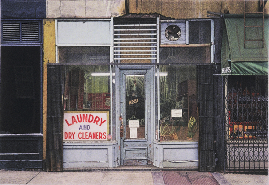 "Laundry and Dry Cleaners 2004 5.5x8"" acrylic on paper"