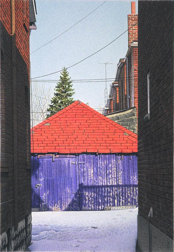 "Garage Vista 2003 8x5.5"" acrylic on paper"