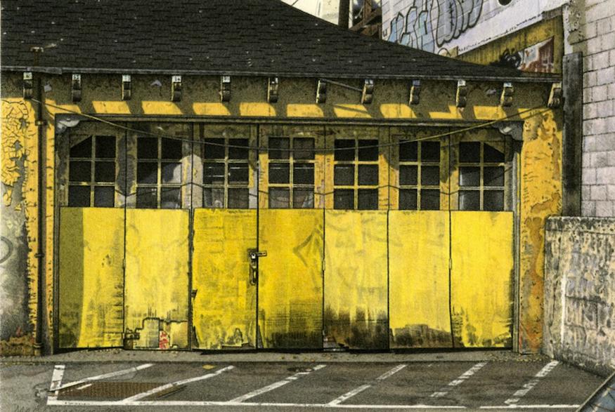 "Yellow Garage 2003 5.5x8"" acrylic on paper"
