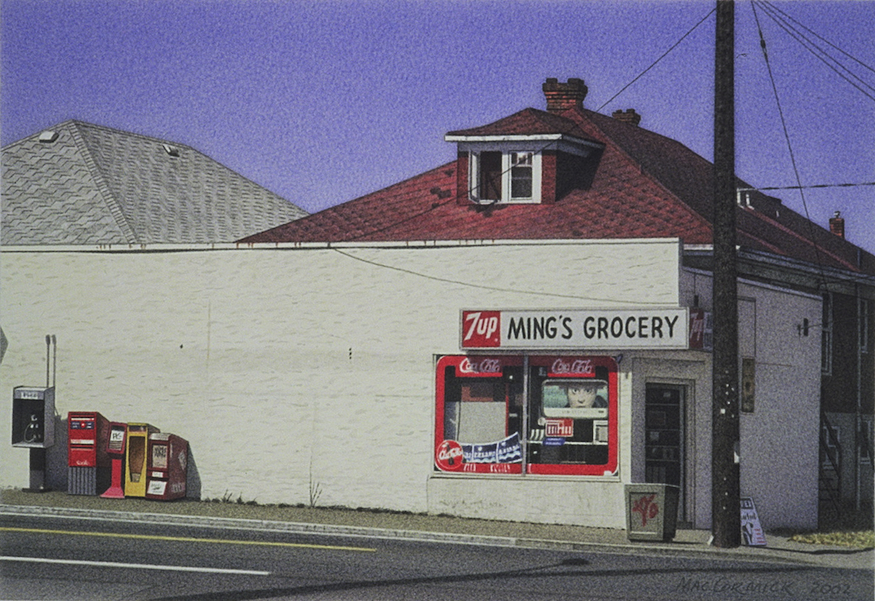 "Ming's Grocery 2002 5.5x8"" acrylic on paper"