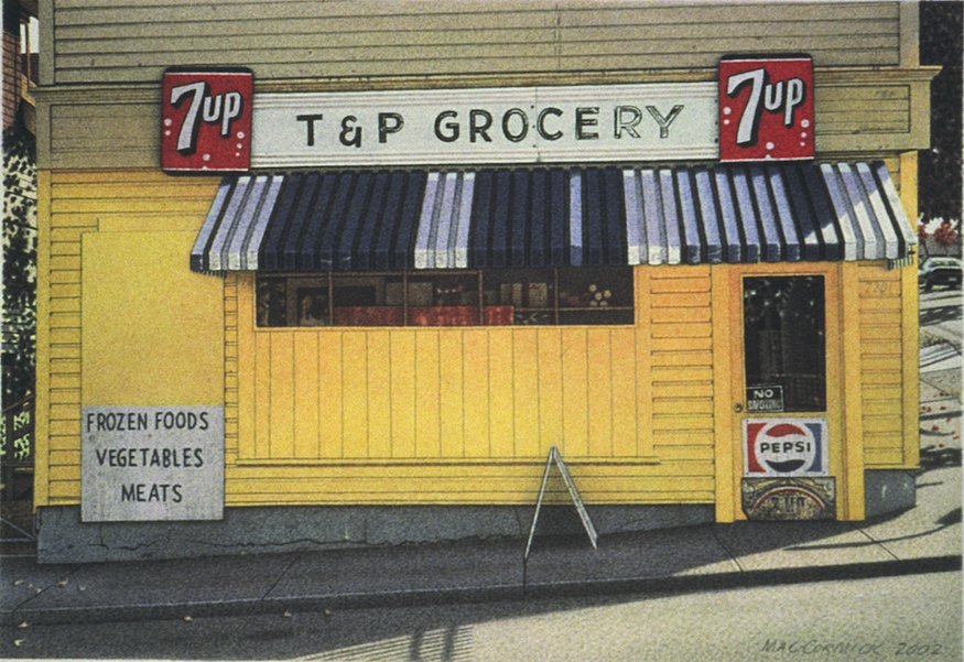 "T & P Grocery 2002 5.5x8"" acrylic on paper"