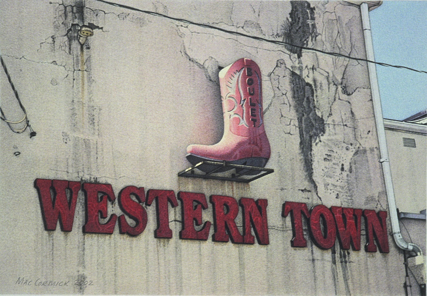 """Western Town 2002 5.5x8"""" acrylic on paper"""