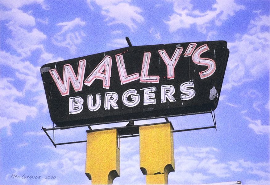 "Wally's Burgers 2000 5.5x8"" acrylic on paper"
