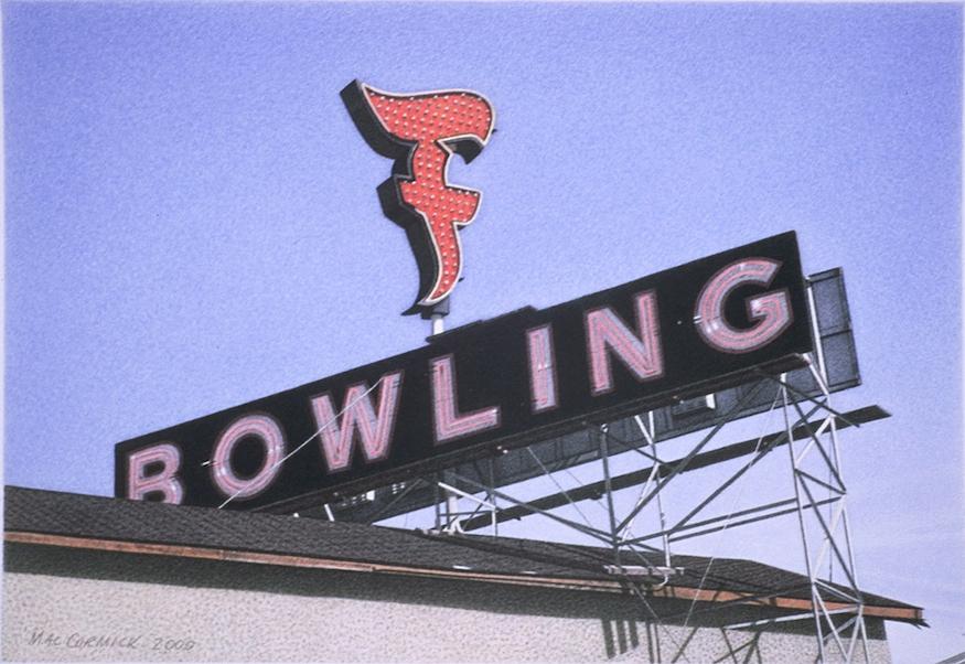 "Fiesta Bowling 2000 5.5x8"" acrylic on paper"