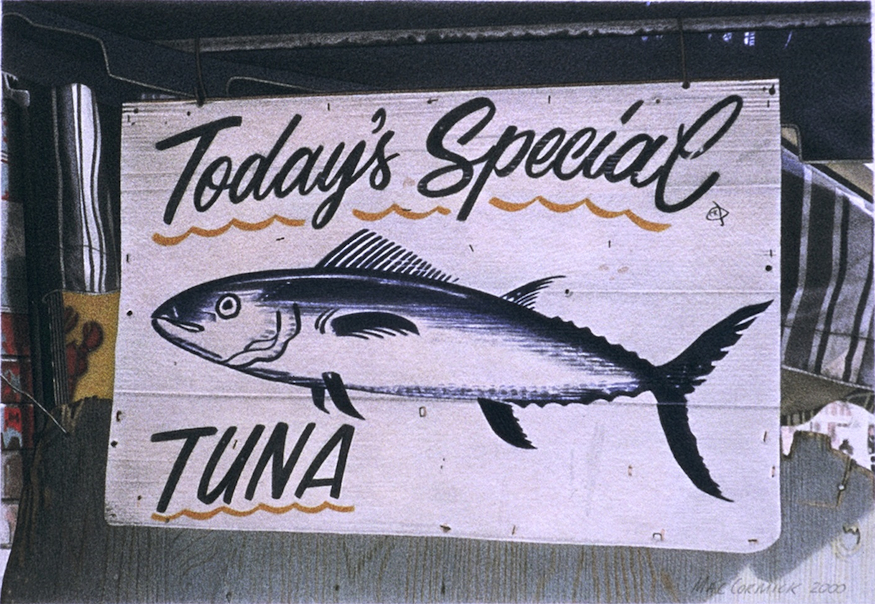 "Tuna 2000 5.5x8"" acrylic on paper"