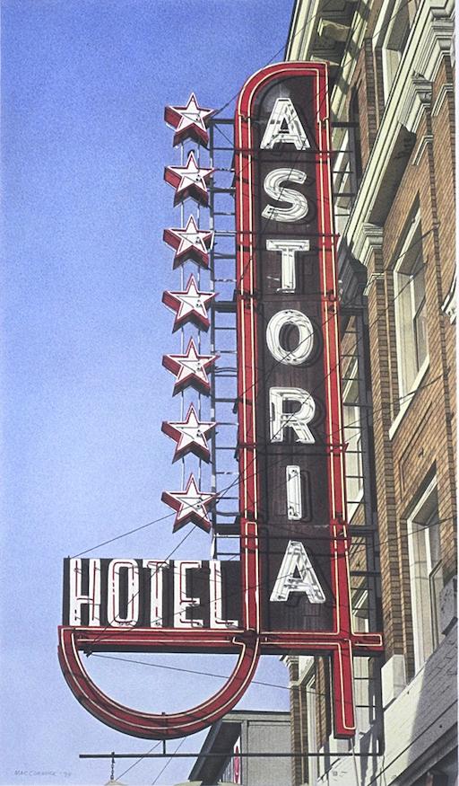 "Astoria Hotel 1998 19x11"" acrylic on paper"