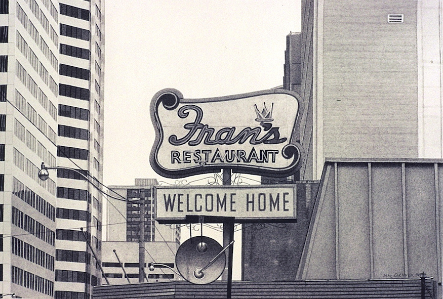 "Fran's Restaurant (monochrome) 1996 8x12"" acrylic on paper"