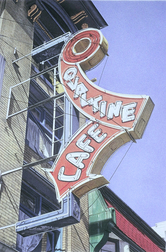 "Ovaltine Cafe 1996 17x11.25"" acrylic on paper"