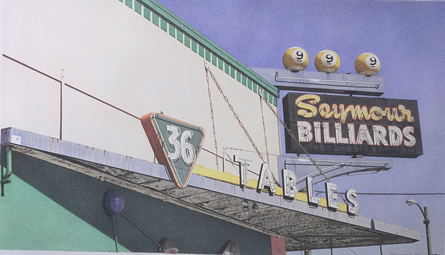 "Seymour Billiards 1995 11x19"" acrylic on paper"