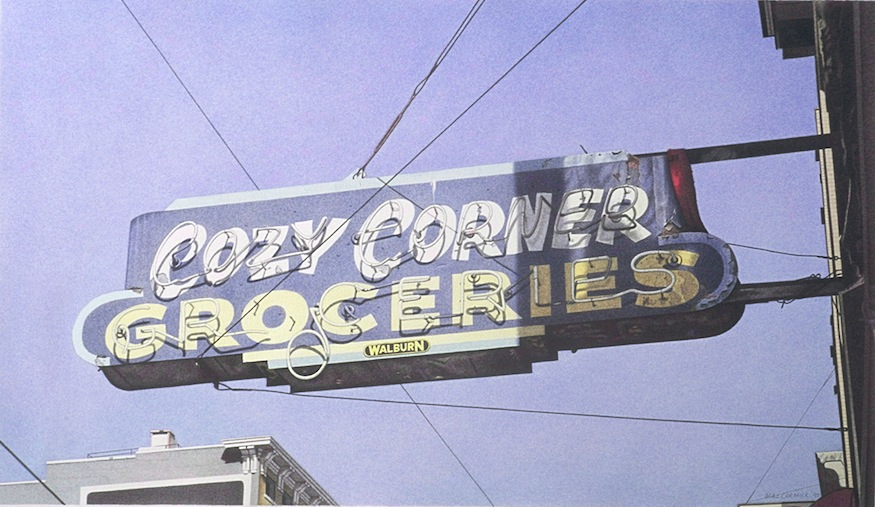 "Cozy Corner Groceries 1995 11x19"" acrylic on paper"