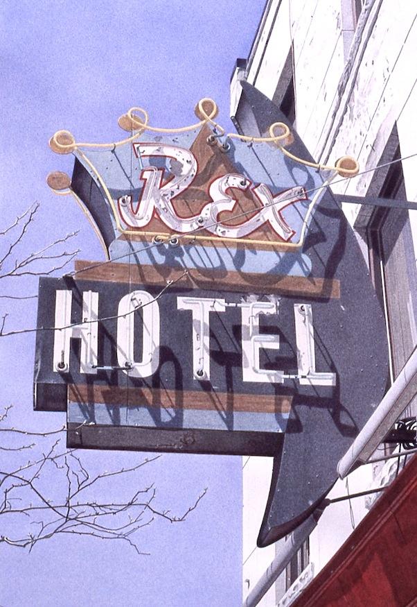 "Rex Hotel 1995 17x11.25"" acrylic on paper"