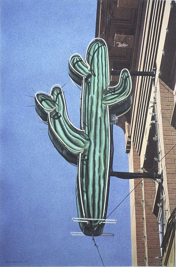 "Cactus Club 1995 17x11.25"" acrylic on paper"