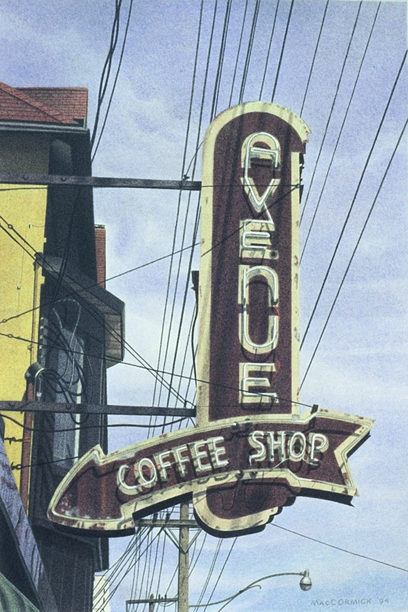 "Avenue Coffee Shop 1994 12x8"" acrylic on paper"