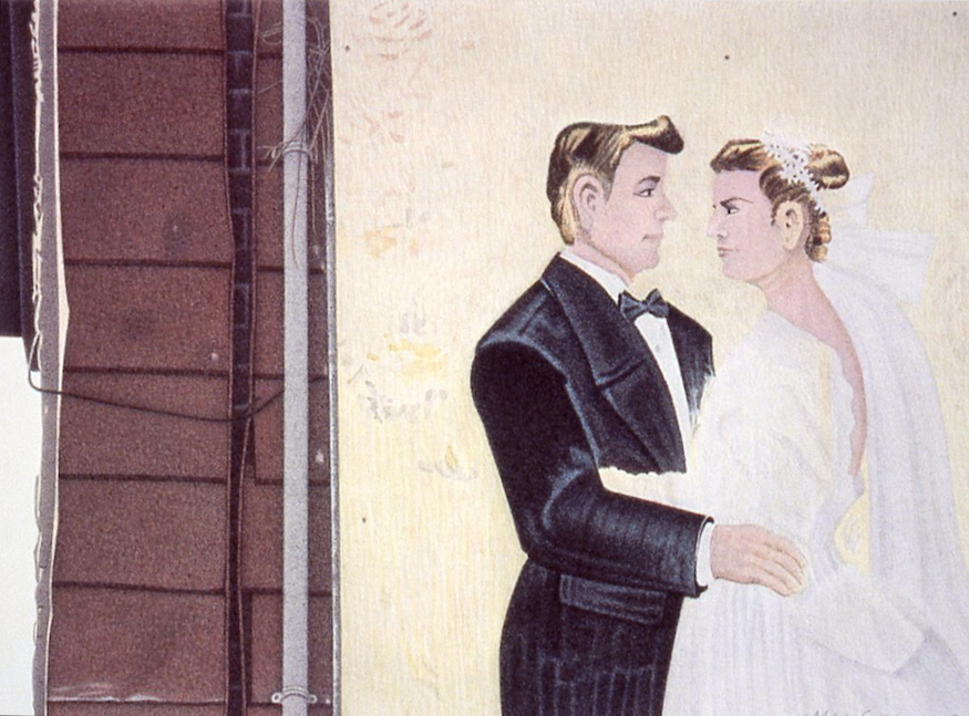 "Bride and Groom 2003 5.5x8"" acrylic on paper"