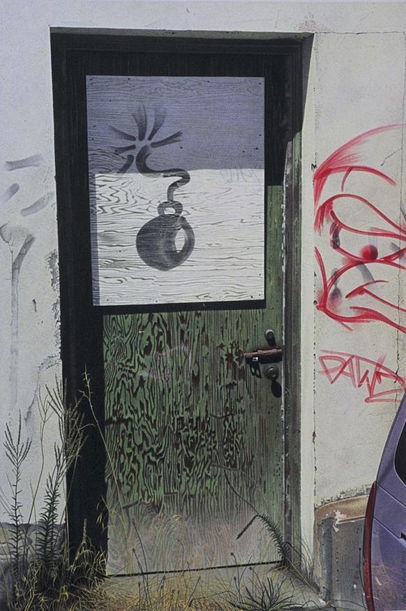 "Bomb 2002 18x12"" acrylic on paper"