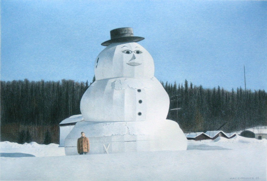 "World's Largest Snowman 1993 11.5x17"" acrylic on paper"