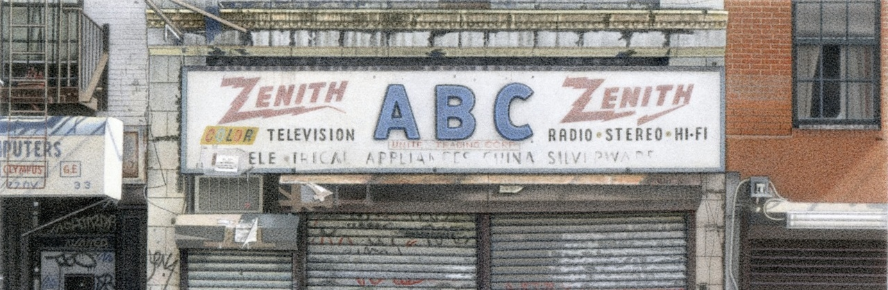 """Detail from ABC United Trading Corp., 2011 5.5x8"""" acrylic on board"""