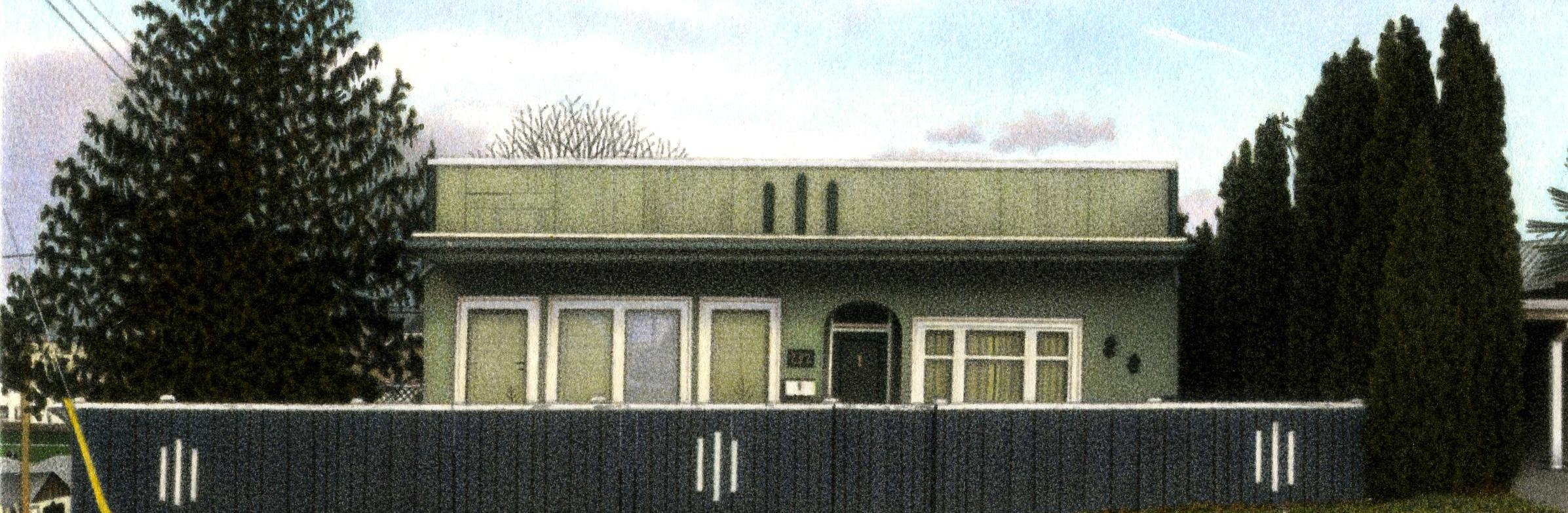 "Detail from 100th Painting, 'Burnside Road House', 2007 5.5x8"" acrylic on paper"