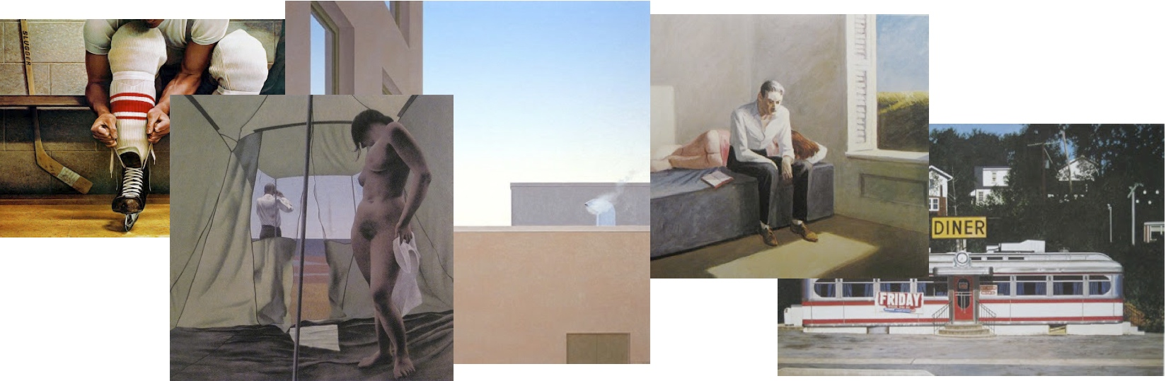 Ken Danby - 'Lacing Up' 1973, Alex Colville - 'June Noon' 1963, Christopher Pratt - 'Institution' 1973, Edward Hopper - 'Excursion into Philosophy' 1959  John Baeder - 'Diner - Camp Hill, Pa.' 1973.