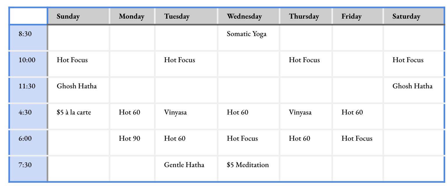 General Schedule - KYKP Yoga Studio in Bloomington, Indiana, IN - Hot Yoga - Ghosh Hatha, Bikram, Vinyasa, Meditation