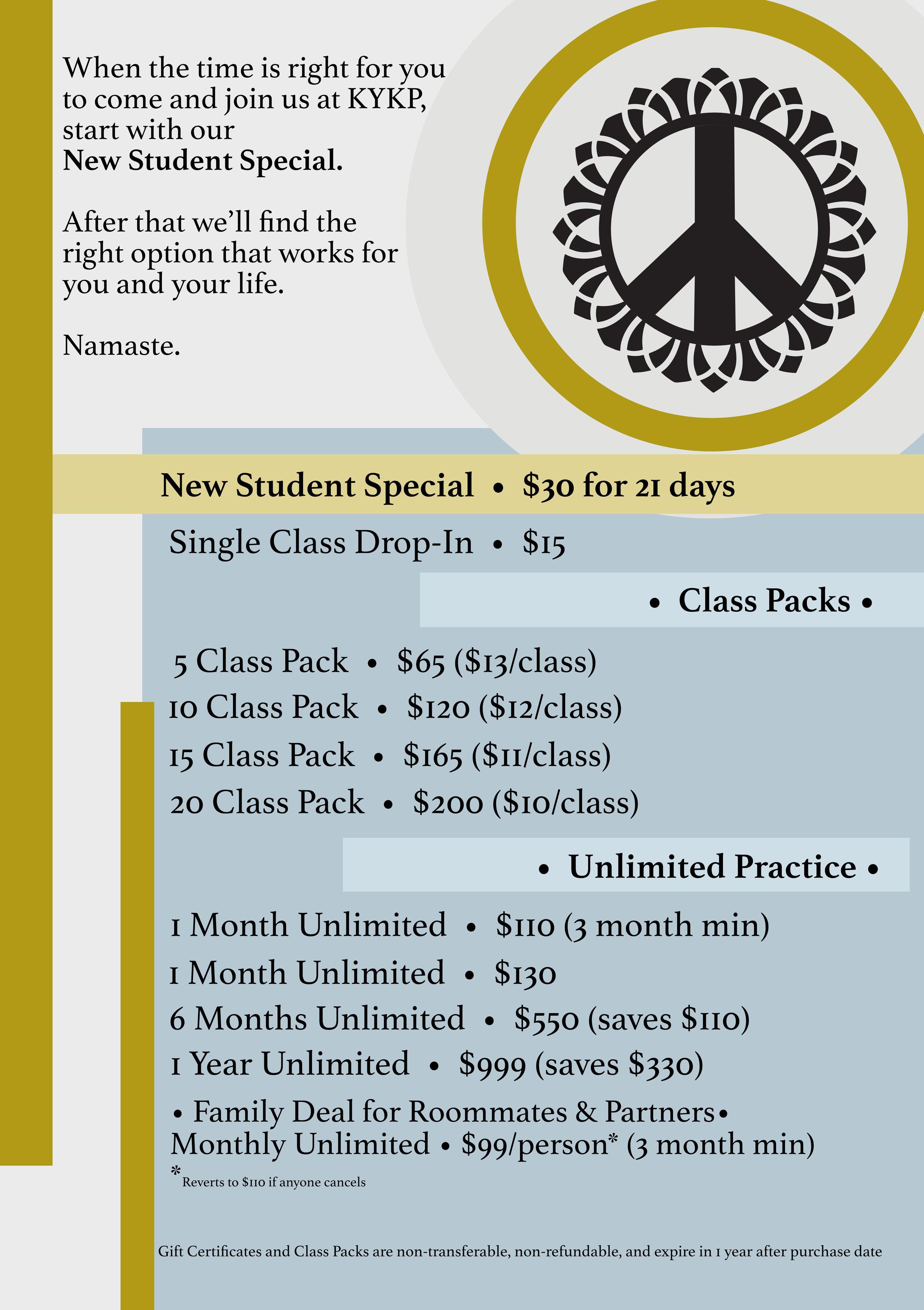 Hot Yoga Pricing Options - KYKP Yoga Studio in Bloomington, Indiana, IN- Hot Yoga - Ghosh Hatha, Bikram, Vinyasa, Meditation