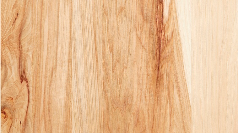 "HICKORY   Hickory is a very ""wild"" wood known for its wide variation in color that can range from white to dark brown with wormholes and black knots. A clear or light stain will maximize the color variations, while darker stain selections will give this wood distinguishing characteristics all its own."