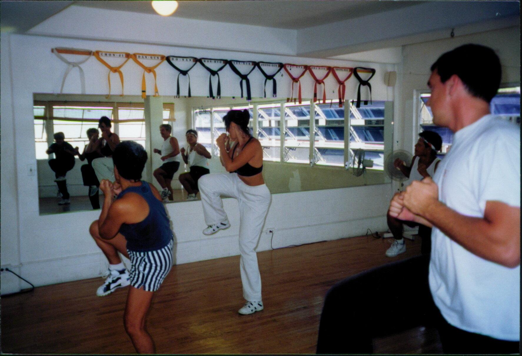 Master Mel teaching a Kickboxing class in Hawaii. Circa 1996.